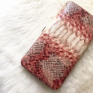 Handbags - Pink and Biege Faux Snakeskin Wallet